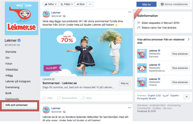 Lekmer.se- info och annons sektion på Facebook